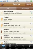 View what beers your friends are drinking, and where they are drinking them