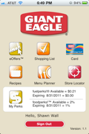 Giant Eagle Grocery Chain iPhone Application (developed for Buzzhoney)