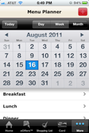 Menu Planner functionality with month, week & day view
