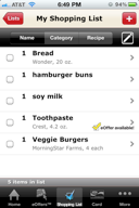 Shopping List feature